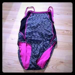 Black, grey and pink bathing suit